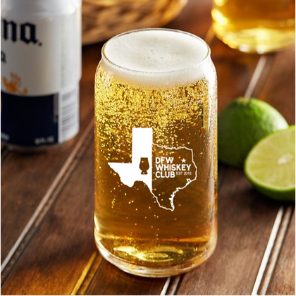 DFW 16 OUNCE BEER CAN GLASS