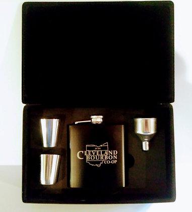 Cleveland Bourbon Co-Op Flask set