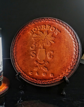 Scbc hand embossed leather coaster