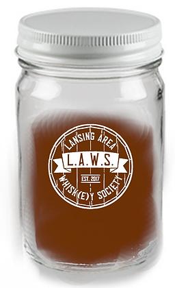 12 oz mason jar glass WITH LID (LAWS)