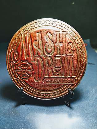 Mash and Drum leather coaster