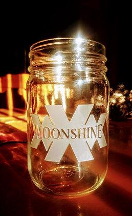 """Moonshine"" 12 oz mason jar (with lid) glass"