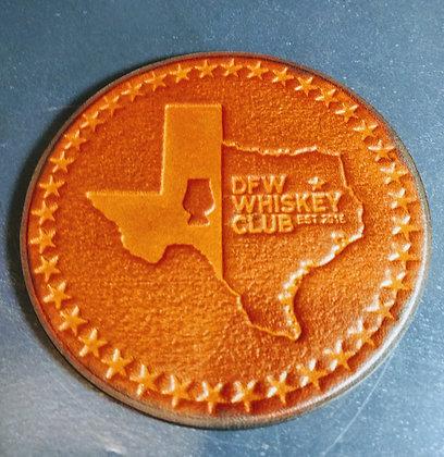 DFW Embossed Leather Coasters
