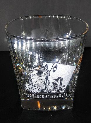 set of 4 square rocks glass