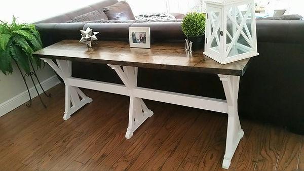 SouthernFireRustic.com - Farmhouse Tables - Rustic X Sofa Table