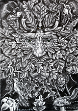 Hawthorn green man Pagan Art by Fay Brot