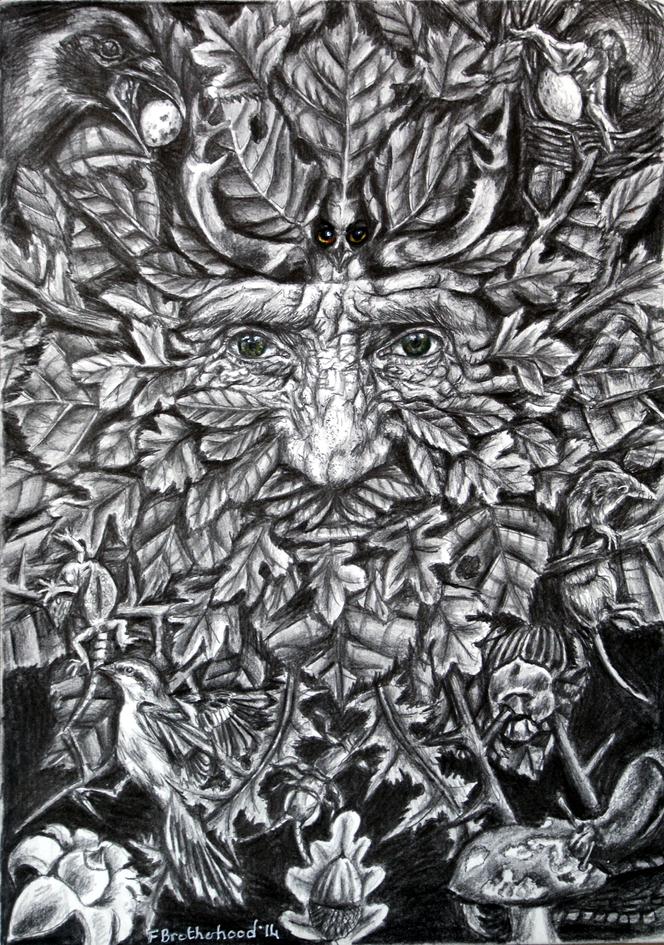 Hawthorn green man Pagan Art by Fay Brot