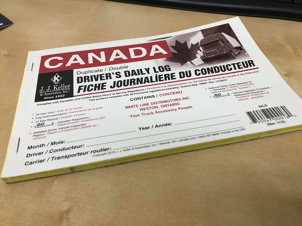 A Canadian logbook that truckers would use for logging their Hours of Service