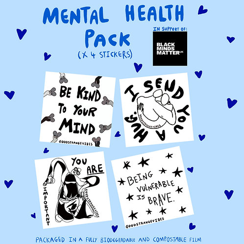 Mental Health Transparent Sticker Pack 20% profit donated to Black Minds Matter