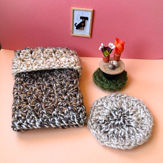 Miniature Tan Crochet Quilt, Round Rugs, Night Stand, Table Decorations