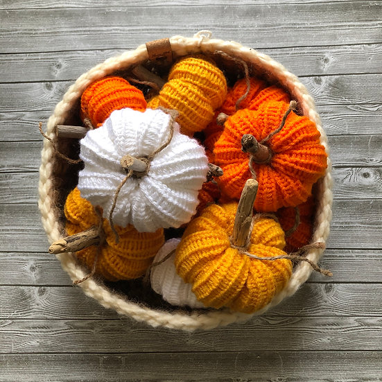 Small Knit Decorative Pumpkins