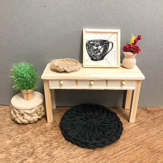 Miniature Crochet rug set w/ poof Coffee photo and accessories