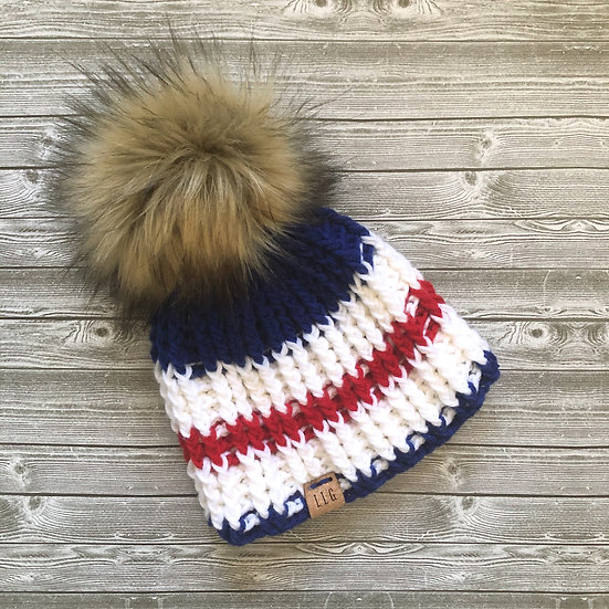 Striped Red White and Blue Fur Pom Hat