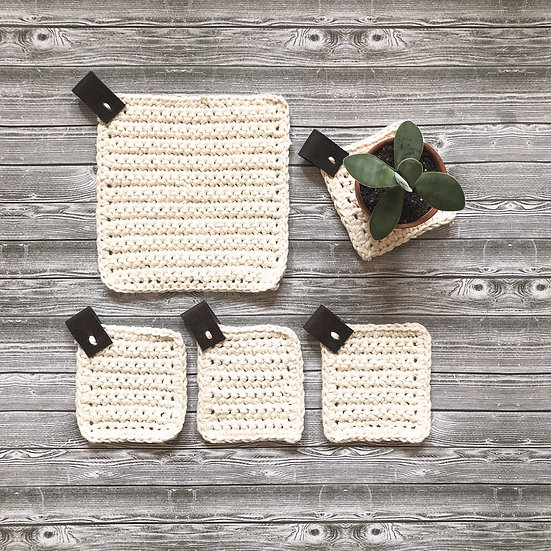 Rustic chic country trivet and coaster set