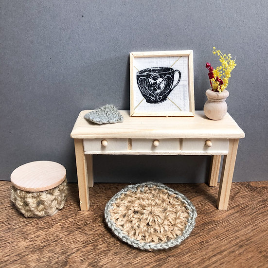 Miniature Gray Crochet rug set w/ poof Coffee photo and accessories