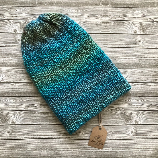 Rainbow Teal Knit Slouchy Hat