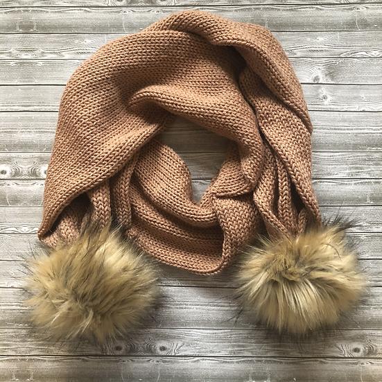 Fur Pom pom Knit scarf