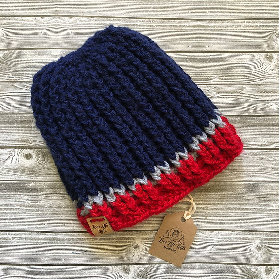 Toddler Red Gray and Blue Winter Crochet Hat
