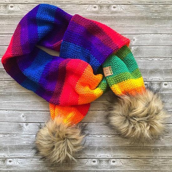 Rainbow Fur Pom Pom Scarf