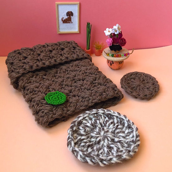 Miniature Brown Crochet Quilt, Round Rugs, Night Stand, Table Decorations