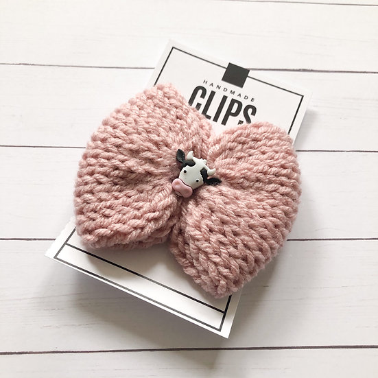 Pink Cow Hair Bow