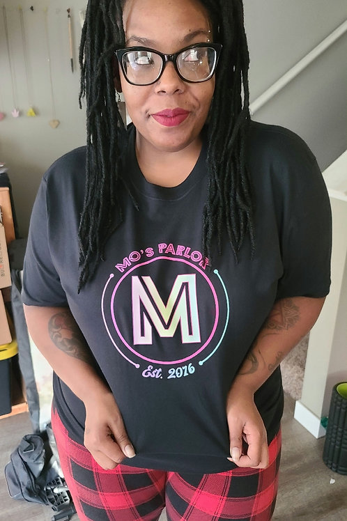 Mo's Parlor Black Tshirt Color Logo