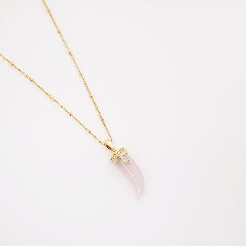 Collier corne quartz rose