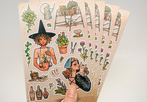 Botanical Witches Sticker Sheet