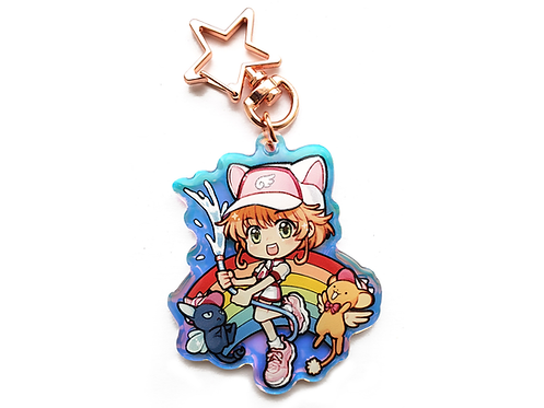 "Rainbow Cat Cute Summer Girl 2.5"" Rainbow Holographic Acrylic Charm Keychain"