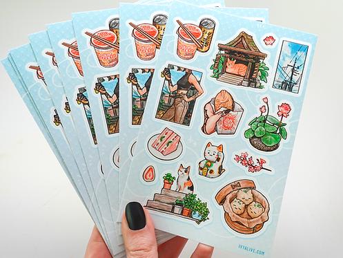 Japan Snacks & Cats Sticker Sheet