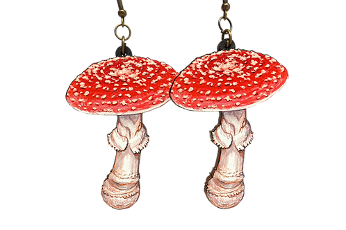 Fly Amanita Wood Earrings