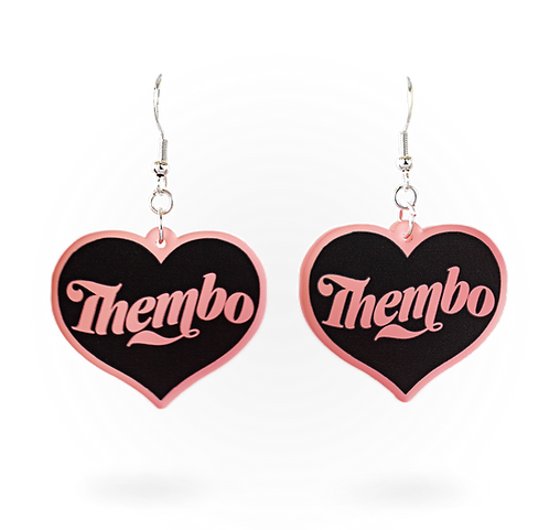 Thembo Frosted Blush Heart Earring Set