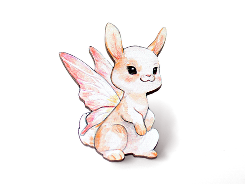 Bunny of the Fae 40mm Wooden Pin