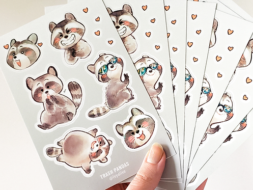 Trash Pandas Vinyl Sticker Sheet
