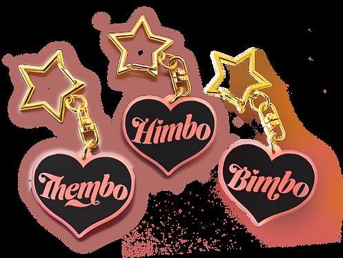 "Bimbo & Friends Frosted Blush Heart 1.5"" Keychain"