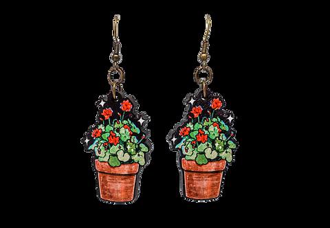 Geranium Maple Wood Earrings