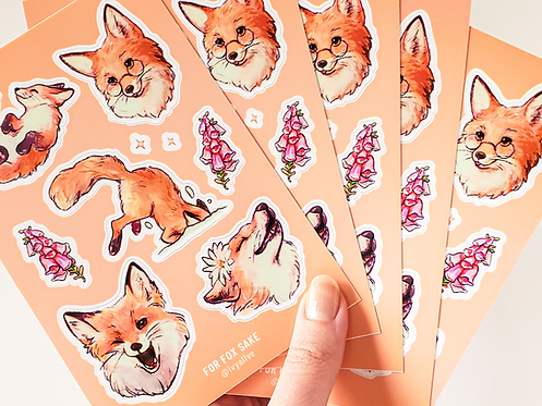 Playful Winter Fox Vinyl Sticker Sheet