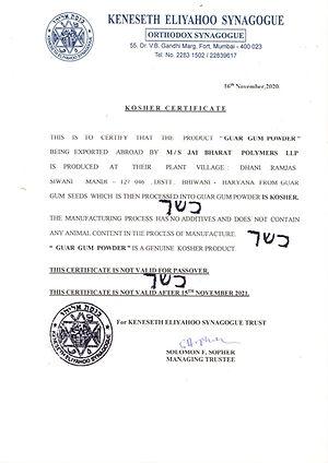 Kosher Certificate M.S. Jai Bharat Polym