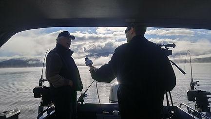 Ben Deach from Kolo 8 news interviewing Purple Heart Anglers President Randy Houston