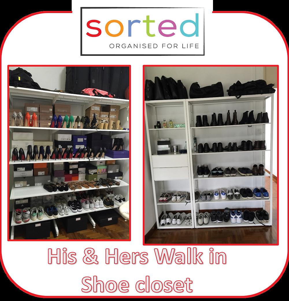 His & Hers Walk in Shoe closet