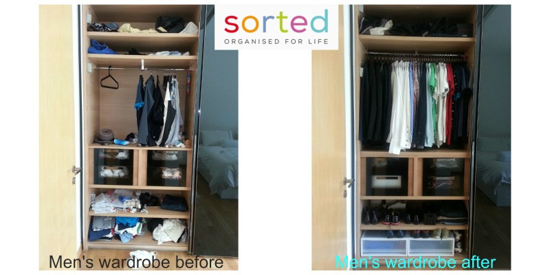 Men's wardrobe, before and after