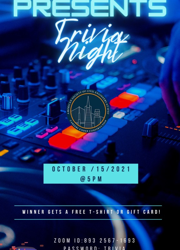Trivia Night - Second Social Event of Fall 2021