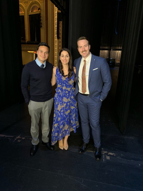 "Amanda Ayres, Bret Shuford, and Braian Rivera Jimenez on set for Hallmark's ""Love to the Rescue"""
