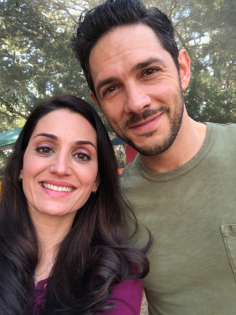 "Amanda Ayres and Michael Rady on set for Hallmark's ""Love to the Rescue"""