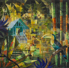 Jungle clearing with Toucan. mixed media on board 46x50cm