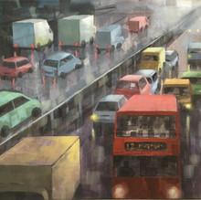 Motorway at Dusk. oil on canvas. 40x50cm £400