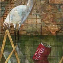 Urban Egret. mixed media.30x60cm £350