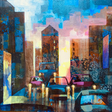 An evening in New York acr on board 30x33cm. £200