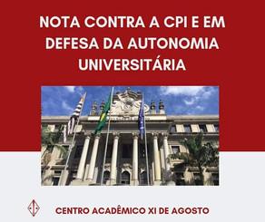 NOTA CONTRA A CPI E EM DEFESA DA AUTONOMIA UNIVERSITÁRIA