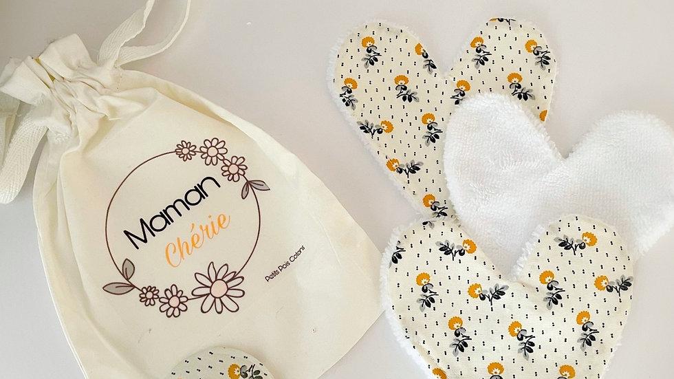 Pochon , miroir et cœurs à démaquiller lavables